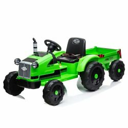 Ride On Tractor With Trailer Electric Car Toys For 3 4 5 Year Old Kids Boys 12v