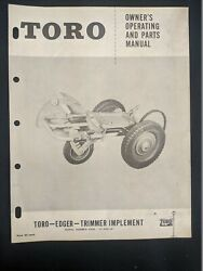 1956 Toro Edger Trimmer Implement Owner's Operating And Parts Manual Brochure
