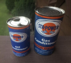 Vintage Sta Power Gas And Oil Conditioning Cans Advertising Rare Nos