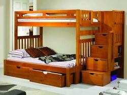 Michael Honey Twin Over Full Youth Bunk Bed With Storage And Shelves