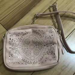 UNDER ONE SKY Blush Gold Cut Out Faux Leather Cross Body Bag $19.95