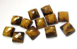 Natural Tiger Eye Loose Gemstones Square Shape Checker Cut Size In 16mm To 20mm