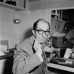 American Comedian Phil Silvers In His Dressing Room Backstage On The Old Photo