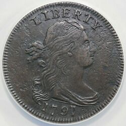 1797 1c S-120b Rev Of 1795 Draped Bust Large Cent Anacs Ef 40 Details Corroded