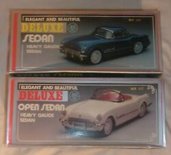 2 Vintage Corvette Deluxe Sedan Friction Cars 1 Convertible 1 Hardtop With Boxes