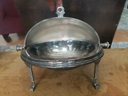 West And Sons Silver Plated Victorian Dublin Irish Serving Chafing Dish Roll Top