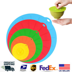 5x Silicone Bowl Pot Lid Reusable Suction Cover Microwave Bpa-free Cookware Lids