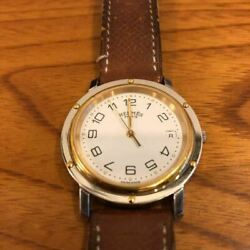 Hermandegraves / Hermes Clipper White Dial Menand039s Wrist Watch W/ Rare Brown Leather Belt