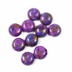 Natural Purple Copper Turquoise Loose Gemstones 16mm To 20mm Round Cabochon