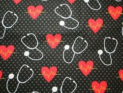 Heartbeats and Stethoscopes Medical Themed 100% Cotton You select size of cut: $3.69