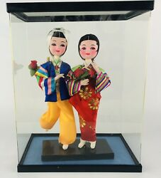 Vintage Korean Traditional Native Dolls Male And Female Wedding Pair