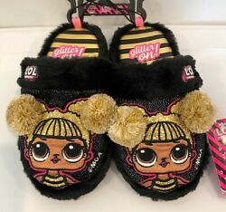LOL Surprise Girls Black Pompom Scuff Character Slippers House Shoes L.O.L $19.99