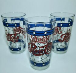 Vintage 70and039s Pepsi Cola Style Stained Glass Tumbler Measures 5 Lot 3