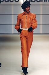 Paco Rabanne Vintage Ostrich Leather Jacket Haute Couture Fall Winter 1994 1995