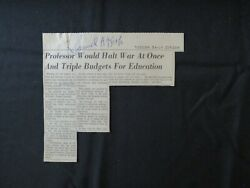 Learning Disability Samuel Kirk Hand Signed Newspaper Article Todd Mueller Coa