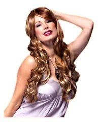 High Quality Blush Broadway Jamaican Rum Long Wavy Costume Wig With Side Bangs