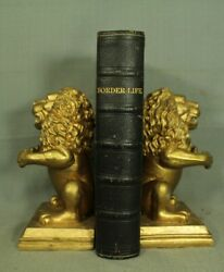 Border Life History The Discovery Of America Rare Antique Old Leather Book 1849