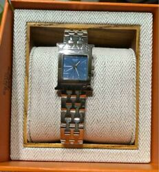 Hermes Paris Hh.121 Rare Blue Dial Watch With Box Shipped From Japan