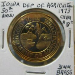Token Iowa Department Of Agriculture, 50th Anniversary, 1973, 33 Mm Brass