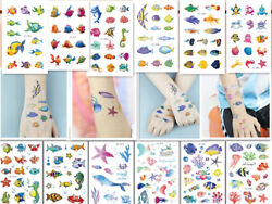 10 X Kids Fish Temporary Waterproof Tattoos Stickers Removable US