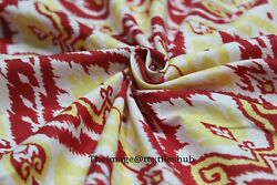 Indian Hand Block Print Red Ikat Upholstery Fabric 1000cotton Fabric 20 Yard Us