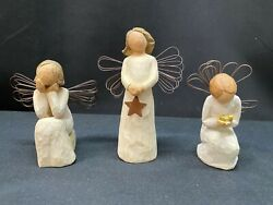 Set Of 3 Willow Tree Angel Of Light Angel Of Caring Angel Of Miracles