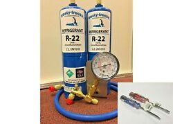 R22 Refrigerant R-22 Air Conditioner 2 28 Oz Cans Large Recharge Kit-22h