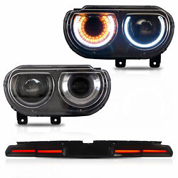 Vland Projector Headlights Smoke Taillights 3pcs For 2008-2014 Dodge Challenger