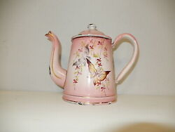 C1900 Hand Painted Pink Small Butterfly Enamelware Coffee Pot Enamel Rare Old