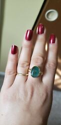 Huge 5.6 Carats Emerald 18k Yellow Gold 💍 Ring Size 7