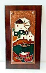 Vintage 3-d Copper Wall Art Decor On Wood Plaque Windmill Boats Water 6 X 11