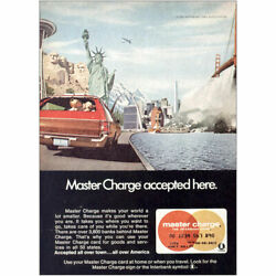 1970 Master Charge Accepted Here Statue Of Liberty Vintage Print Ad