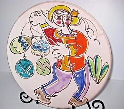 Desimone Hand Painted Signed Collector's Piece Round Ceramic Bowl Italy 12