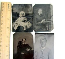 4/lot Antique Tintypes Photograph - Old Fancy Dress,baby,lady,men 3.5h X 2.5w