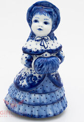 Gzhel Porcelain Victorian Lady In Dress And Mob Hat W Muff Bell Figurine Souvenir