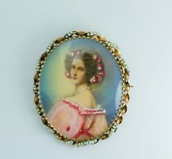 Antique 14k Yellow Gold Hand Painted Portrait With Pearl Seeds Pin / Pendant