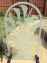 """Art Deco - Calla Lilly - Glass Carving - Etched Panel - 19""""x29"""" - Free Standing"""