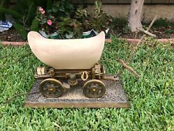 Vintage Wood Stagecoach Wagon Table Lamp With Wooden Base And Night Light