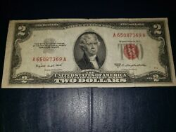 1953 Two Dollar Note Red Seal 2 Bill Us Currency