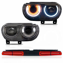 Vland Projector Headlights And Red Taillights Led For 2008-2014 Dodge Challenger