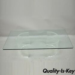 Mid Century Double Pedestal Curved Lucite Base Rectangular Glass Coffee Table