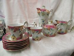 Vintage Reproduction Limoges China 17 Pc Tea Set Pink White Gold Molded Flowers