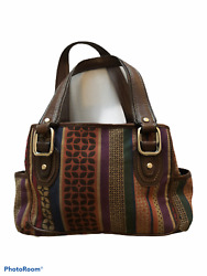 Fossil womens brown green red burgundy tapestry purse bucket handbag bag $23.99