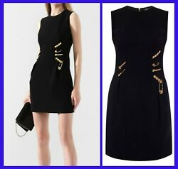 Versace Black Safety Medusa Pin Cocktail Dress 38 - 2