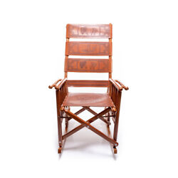 Costa Rican Rocking Chair - Leather - Royal Mahogany Wood Classic