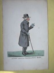 Vintage Engraving,view Chatham Row,1809,bath, Robt.dighton,1752-1814,hand Color
