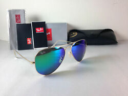 Ray Ban Aviator Sunglasses Gold Frame with Green Flash Mirror Lens 58mm $69.00