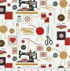 Sewing Mends Soul Sew Machine Craft Themed Cotton Fabric Henry Glass Co By Yard $12.95