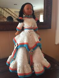 Vintage Native American Indian Girl Doll With Handmade Crochet Dress 14 Inch