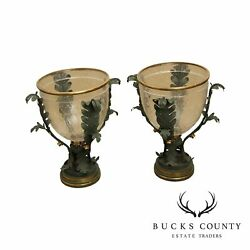 Quality Pair Of Grecian Neo Classical Tole Metal Glass Hurricane Candle Holders